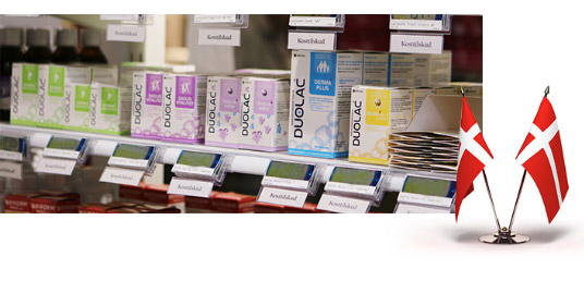 Distribution of health functional food corner in Danish pharmacy after launching one year national wide.