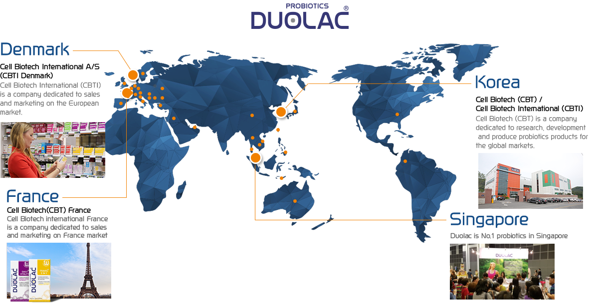 Patented Dual Coating Probiotic Duolac, patented in Korea, USA, Europe, Japan and China, is a global brand exported to more than 40 countries around the world, including Denmark.